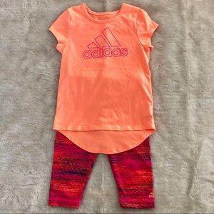 EUC Toddler Girls Adidas TShirt Capris Set Size 2T